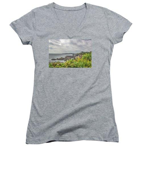 Women's V-Neck T-Shirt (Junior Cut) featuring the photograph Rocky Maine Shoreline by Jane Luxton