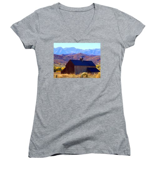 Women's V-Neck T-Shirt (Junior Cut) featuring the photograph Rocky Mountain Retreat by Jackie Carpenter