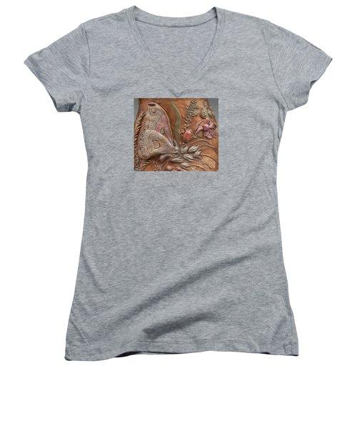 Rocky Mountain Summer - Detail Women's V-Neck T-Shirt (Junior Cut) by Dawn Senior-Trask