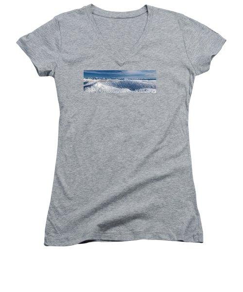 Rocky Mountain Winter Women's V-Neck T-Shirt (Junior Cut) by Aaron Aldrich