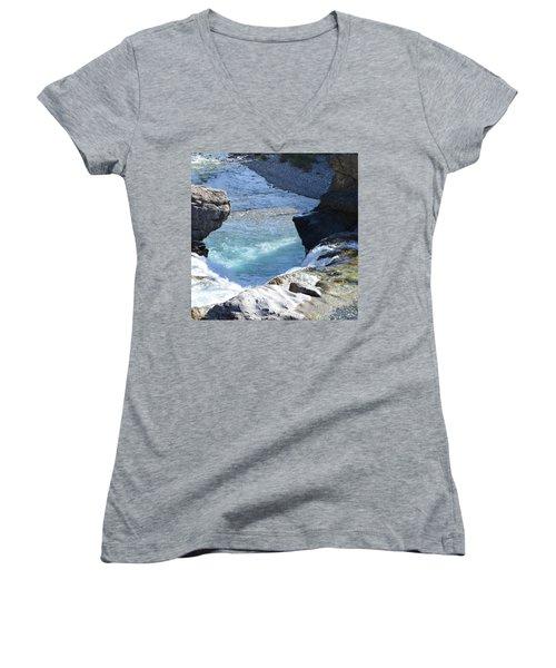 Elbow Falls Water  1.1 Women's V-Neck T-Shirt (Junior Cut) by Cheryl Miller