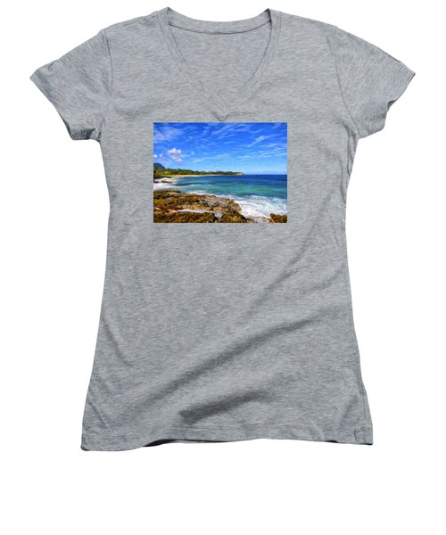 Rocky Shore Near Poipu Women's V-Neck