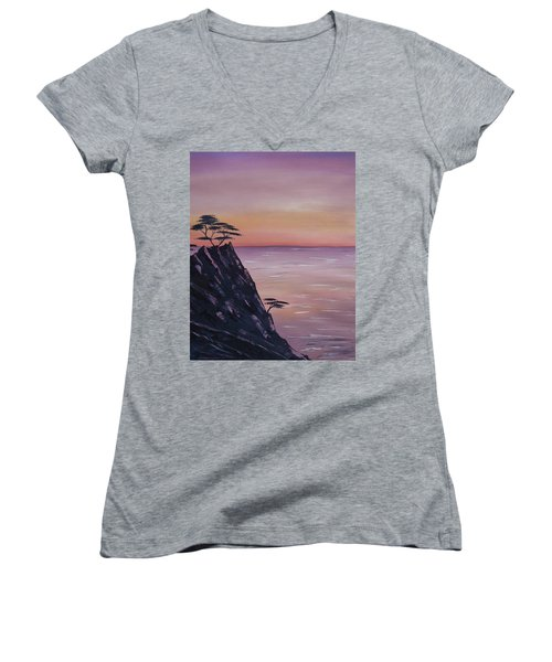 Women's V-Neck featuring the painting Rocky Sunset by Barbara St Jean