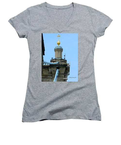 Women's V-Neck T-Shirt (Junior Cut) featuring the photograph Roebling Bridge From Kentucky by Kathy Barney