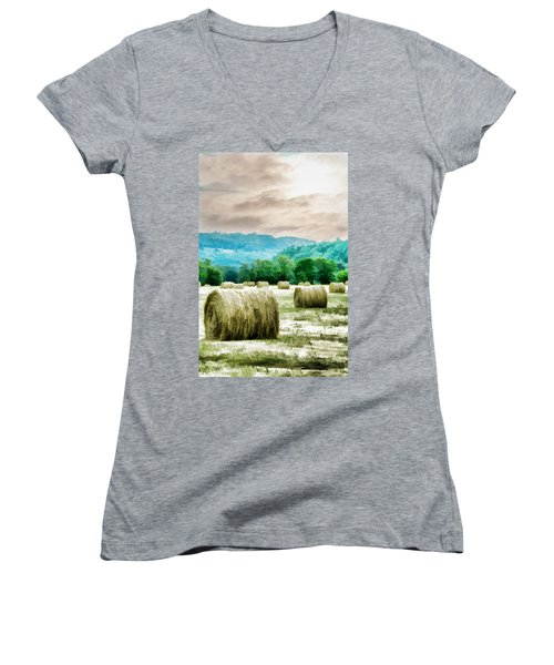 Rolled Bales Women's V-Neck T-Shirt (Junior Cut) by Mick Anderson