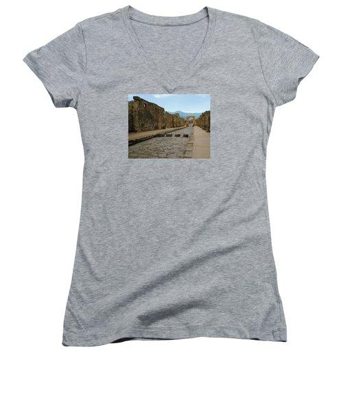 Roman Street In Pompeii Women's V-Neck T-Shirt (Junior Cut) by Alan Toepfer
