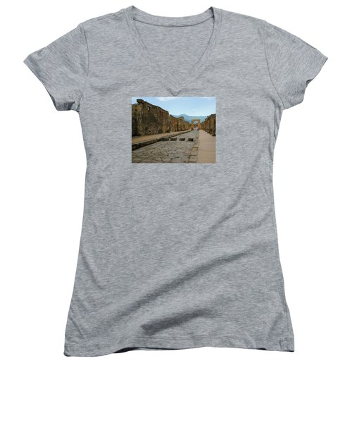 Roman Street In Pompeii Women's V-Neck T-Shirt