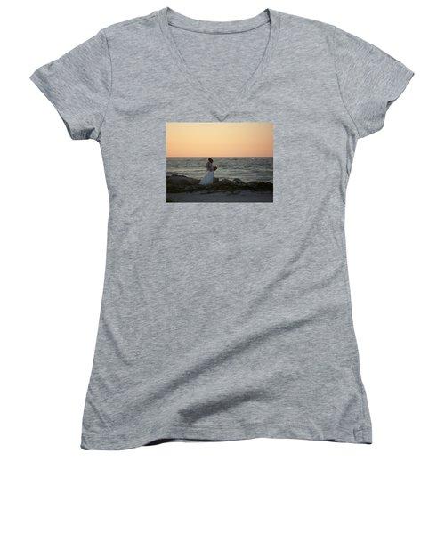 Romance In Captiva Women's V-Neck T-Shirt (Junior Cut) by Val Oconnor