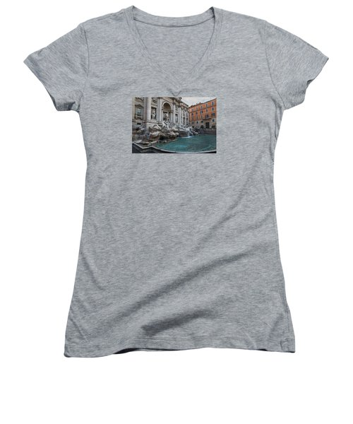 Rome's Fabulous Fountains - Trevi Fountain - No Tourists Women's V-Neck T-Shirt (Junior Cut) by Georgia Mizuleva