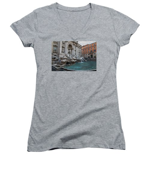 Rome's Fabulous Fountains - Trevi Fountain No Tourists Women's V-Neck