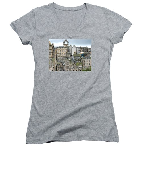 Women's V-Neck T-Shirt (Junior Cut) featuring the photograph Roofs Of Edinburgh  by Suzanne Oesterling