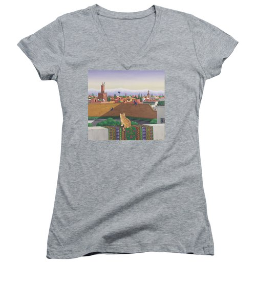 Rooftops In Marrakesh Women's V-Neck T-Shirt (Junior Cut) by Larry Smart