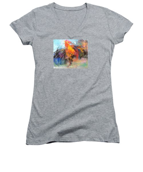 Women's V-Neck T-Shirt (Junior Cut) featuring the painting Rooster by Jieming Wang