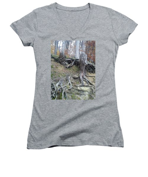 Women's V-Neck T-Shirt (Junior Cut) featuring the painting Roots by Felicia Tica