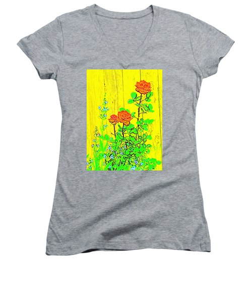 Women's V-Neck T-Shirt (Junior Cut) featuring the photograph Rose 9 by Pamela Cooper