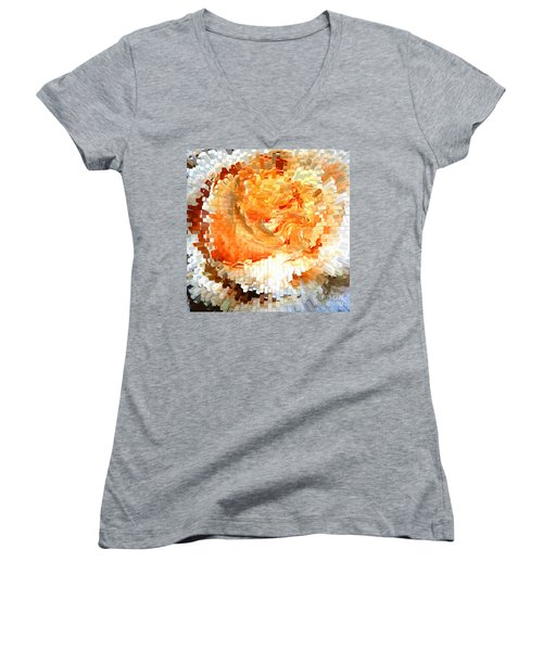Rose In Bloom Women's V-Neck T-Shirt (Junior Cut) by Alys Caviness-Gober