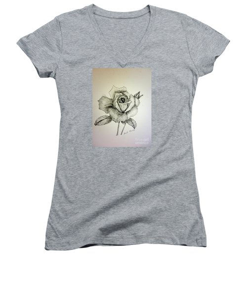 Rose In Monotone Women's V-Neck T-Shirt
