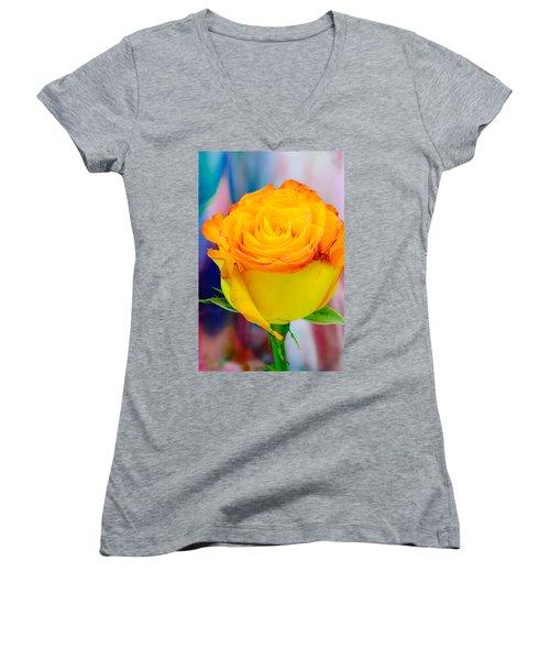 Yellow Rose Macro Women's V-Neck T-Shirt