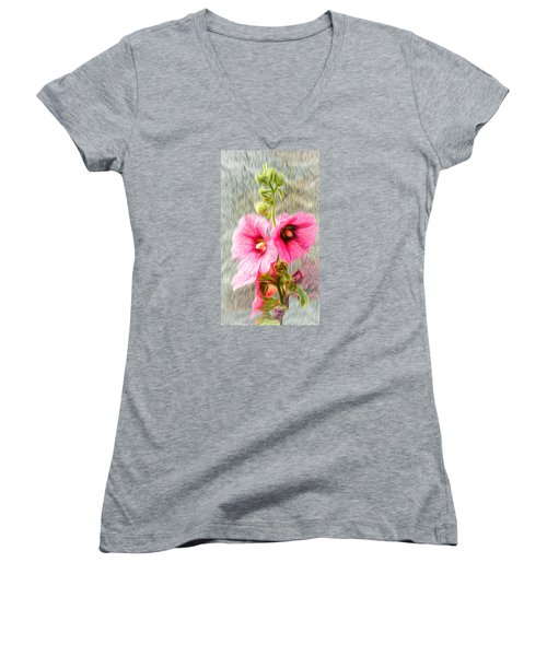 Rose Of The North Abstract. Women's V-Neck T-Shirt (Junior Cut) by Ian Gledhill