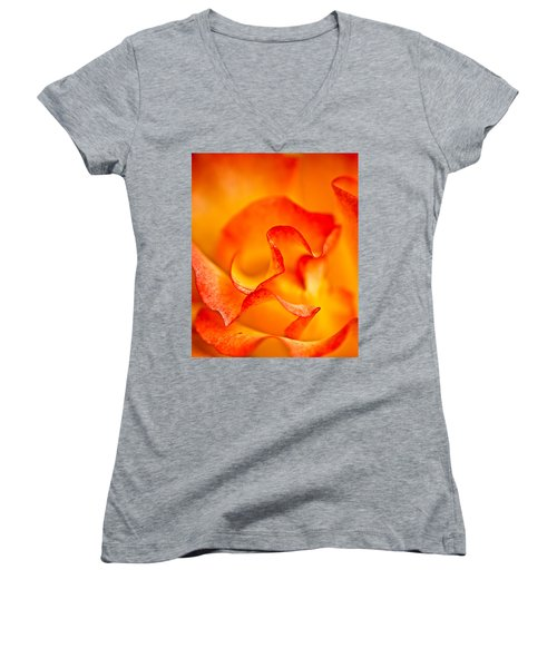 Rose Petals Closeup Women's V-Neck (Athletic Fit)