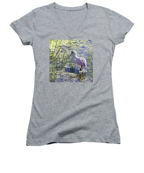 Roseate Spoonbill IIi Women's V-Neck (Athletic Fit)