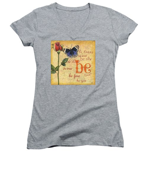 Roses And Butterflies 1 Women's V-Neck (Athletic Fit)