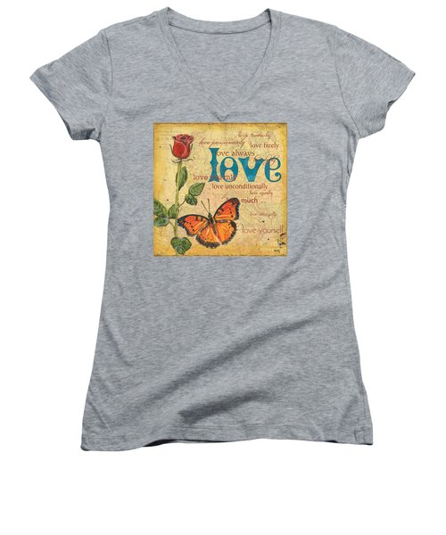 Roses And Butterflies 2 Women's V-Neck (Athletic Fit)