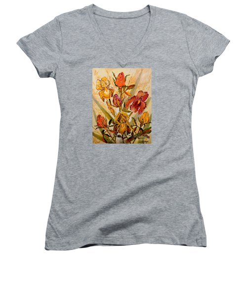 Roses And Irises Women's V-Neck T-Shirt (Junior Cut) by Lou Ann Bagnall