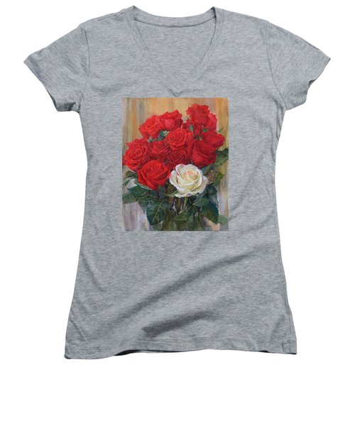 Roses For You Women's V-Neck (Athletic Fit)
