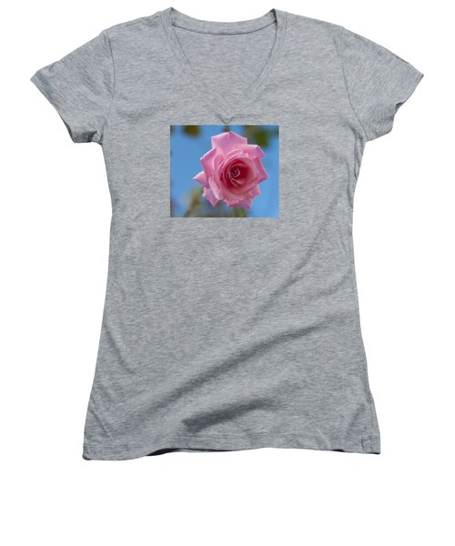 Roses In The Sky Women's V-Neck T-Shirt (Junior Cut) by Miguel Winterpacht