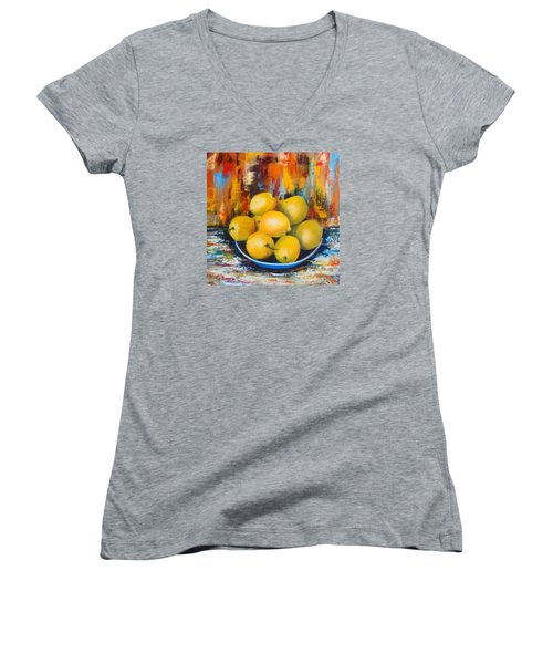 Women's V-Neck T-Shirt (Junior Cut) featuring the painting Rosie's Harvest by Roseann Gilmore