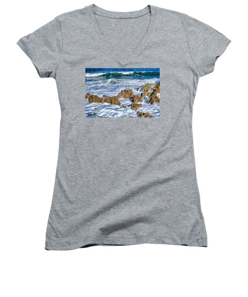 Women's V-Neck T-Shirt (Junior Cut) featuring the photograph Ross Witham Beach Stuart Florida by Olga Hamilton