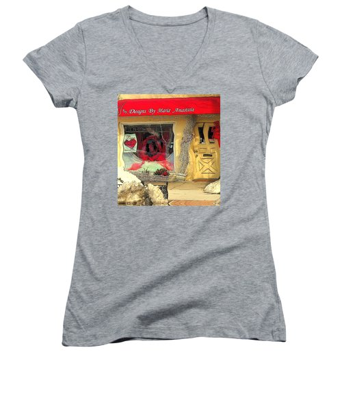 Rouge On The Rue Women's V-Neck T-Shirt (Junior Cut) by Tami Quigley
