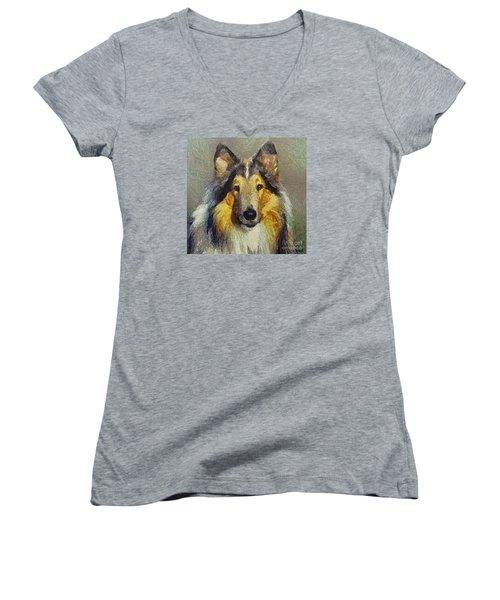 Rough Collie Women's V-Neck T-Shirt (Junior Cut)