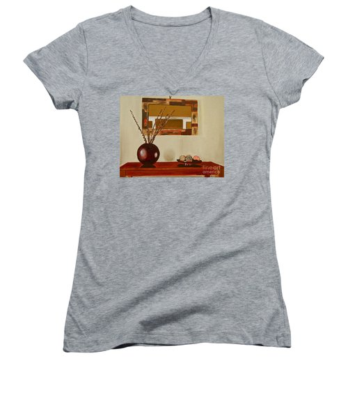 Women's V-Neck T-Shirt (Junior Cut) featuring the painting Round Vase by Laura Forde
