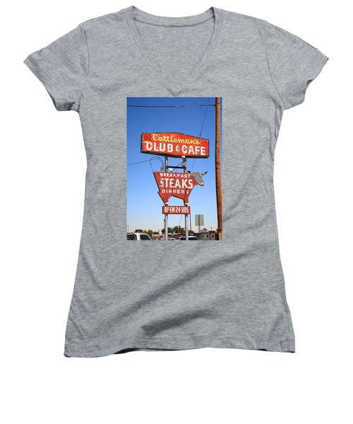 Route 66 - Cattleman's Club And Cafe Women's V-Neck (Athletic Fit)