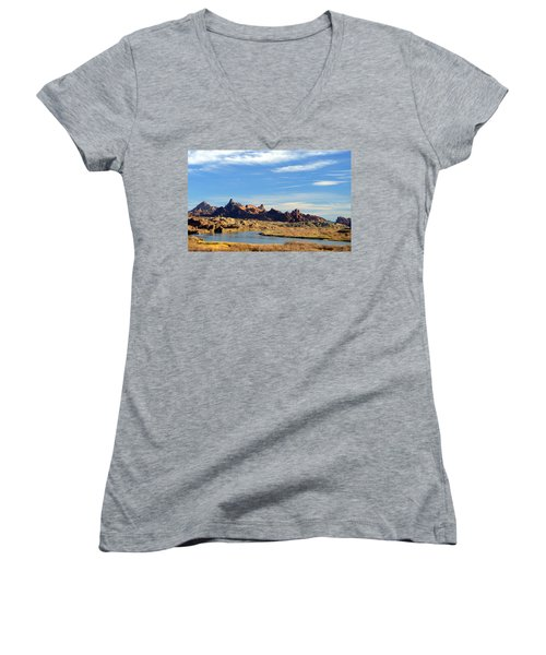 Women's V-Neck T-Shirt (Junior Cut) featuring the photograph Route 66 Needles Mtn Range Two  Sold by Antonia Citrino