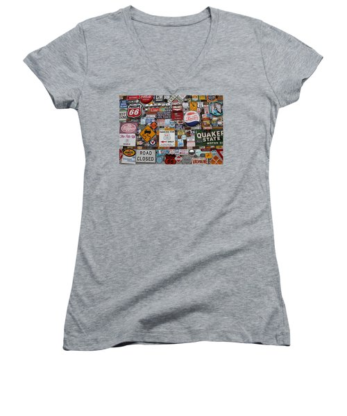 Route 66 Signs Women's V-Neck T-Shirt (Junior Cut) by Lynn Sprowl