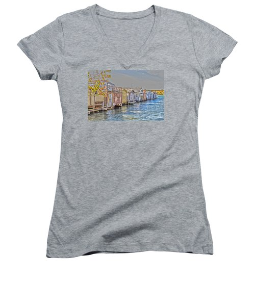Row Of Boathouses Women's V-Neck T-Shirt (Junior Cut) by William Norton