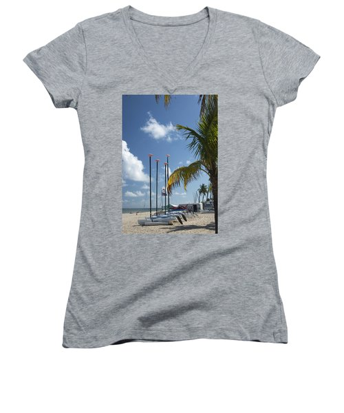 Row Of Sailboats Women's V-Neck (Athletic Fit)
