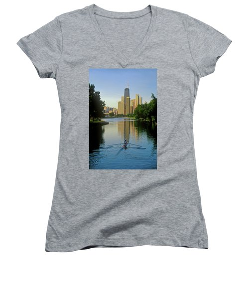 Rower On Chicago River With Skyline Women's V-Neck T-Shirt