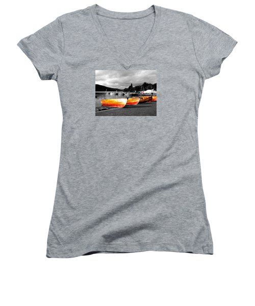 Rowing Boats Ready For Work Women's V-Neck T-Shirt