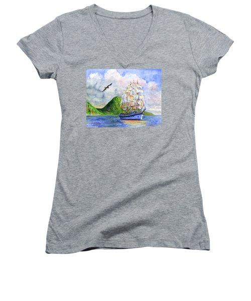 Royal Clipper Leaving St. Lucia Women's V-Neck T-Shirt (Junior Cut) by John D Benson