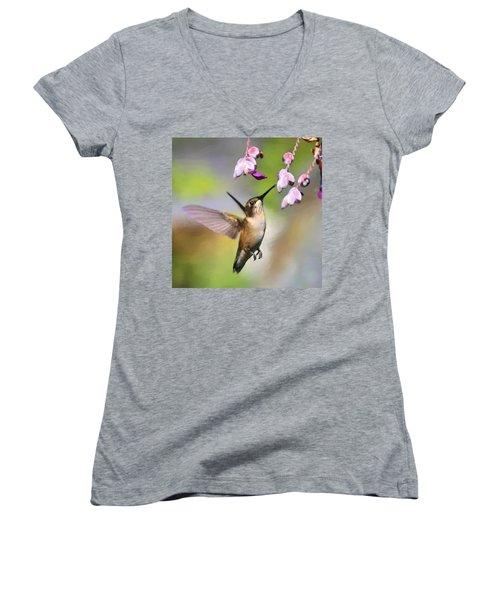Ruby-throated Hummingbird - Digital Art Women's V-Neck T-Shirt (Junior Cut) by Travis Truelove