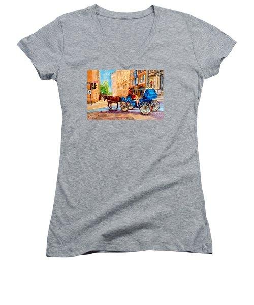 Women's V-Neck T-Shirt (Junior Cut) featuring the painting Rue Notre Dame Caleche Ride by Carole Spandau