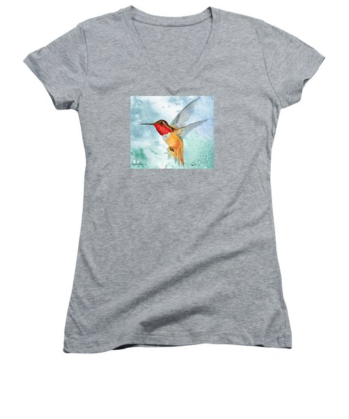 Da199 Rufous Humming Bird By Daniel Adams Women's V-Neck (Athletic Fit)
