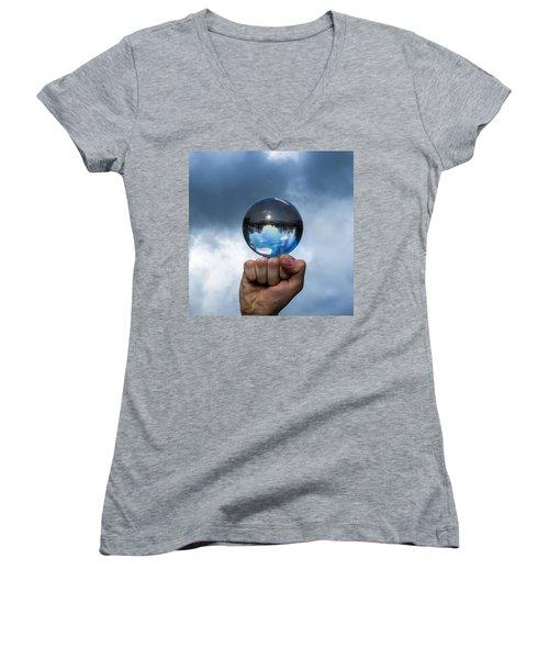Rule The World - Featured 3 Women's V-Neck T-Shirt (Junior Cut) by Alexander Senin