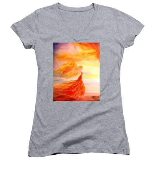 Women's V-Neck T-Shirt (Junior Cut) featuring the painting Running Along The Beach by Lilia D