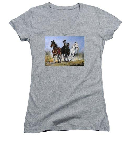 Running Horses Women's V-Neck T-Shirt