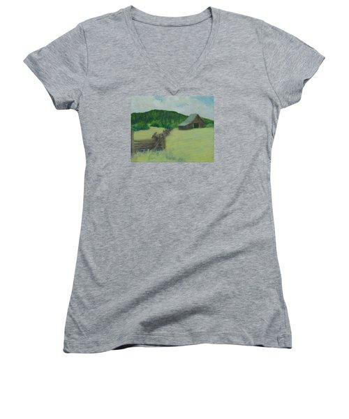 Rural Landscape Colorful Oil Painting Barn Fence Women's V-Neck T-Shirt (Junior Cut) by Elizabeth Sawyer